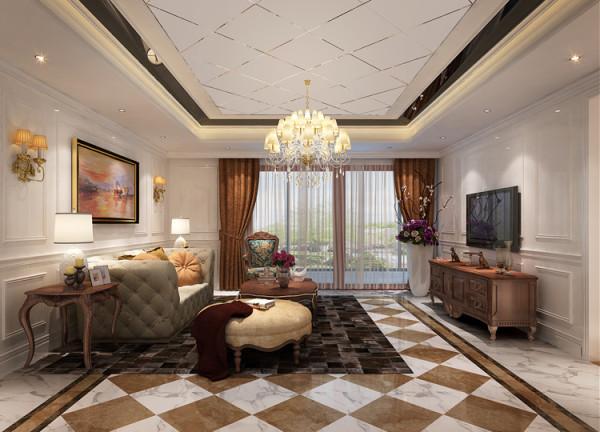 华贸城三居室新古典风格客厅效果图展示