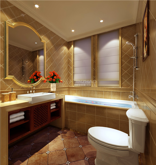 橱柜十分有设计感,收纳方便,金色的基础色让空间奢华别致。