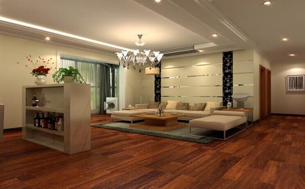 红色的木地板搭配白色的沙发充满了无限的活力