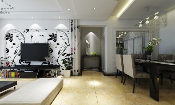 以简约作为基调,客厅的电视墙上采用壁纸和简单的石膏板造型并搭配石膏线条,勾勒出整个空间更突出简约的大气和时尚。:墙面选择整体的白色乳胶漆。使整个空间充满明亮的气息;地面铺瓷砖,让整个空间更通透明亮。