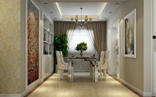 餐厅休闲式的装修风格为居室带来的是轻松的就餐环境,嵌入式酒柜兼具装饰与储物功能,没有太过于现代化,也营造出了一种与日常不同的感觉。