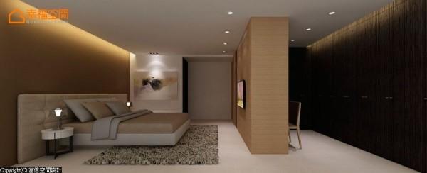 同样以柜体来区隔卧眠及更衣的场域,延伸与扩充最大的机能性。 (此为3D合成示意图)
