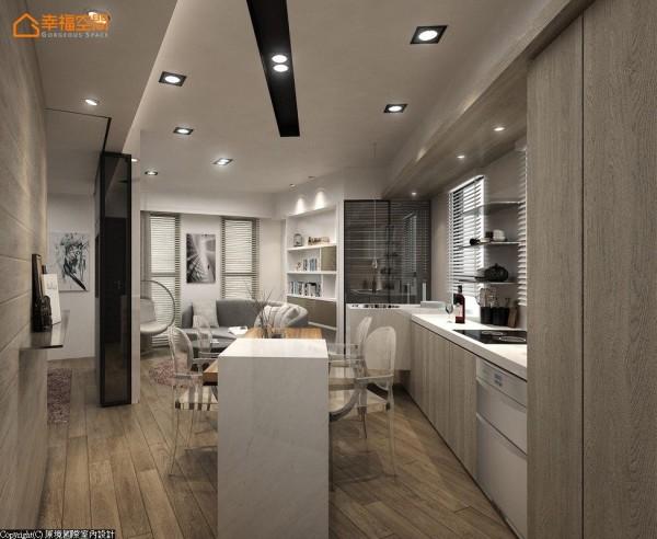 倚靠格局中非直角的斜面规划餐厨区块,饭店式的机能无须太多收纳,故将小冰箱、洗碗机等电器藏入工作台下方,并于餐桌一侧嵌入红酒柜。 (此为3D合成示意图)