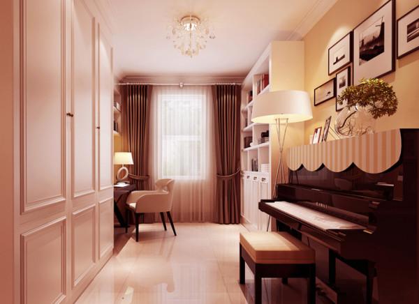 业主家还有一个钢琴需要摆放的区域,经设计师分析将钢琴放置书房,并将书房门做成推拉门形式,平时将推拉门拉开,钢琴也为一道亮丽的风景,并在书房增加了一组大的衣帽柜,更大程度满足家人的储物需求