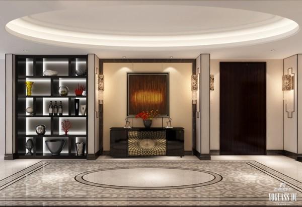 正对家门的玄关是一个明快简洁的博古架空间,白色与灰色的搭配如同周庄的小桥流水,婉约儒雅;新型的诸如大理石、石膏等材质,又为这一别墅空间设计注入一份时尚。