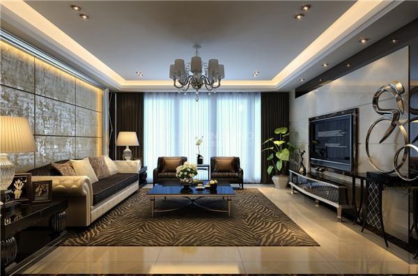 一眼能看到客厅斑马纹路的地毯,这个布置把整个空间都拉到一个新高度,布置规范大气有空间延伸感,作为待客的空间,这个场所把主人的心思体现得淋漓精致。