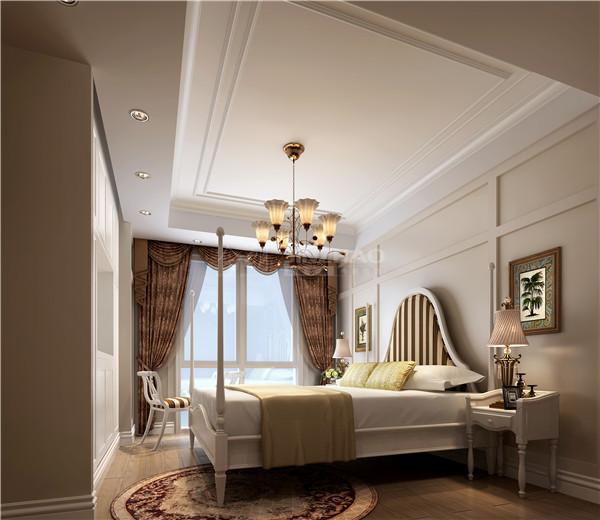 床作为卧室的主体,这里的设计十分特别,白木打造出一个北欧风格的床体,在加上白色的床头柜和椅子,以及圆形的地毯,这里为主人打造出一种内敛的北欧风情的欧式。