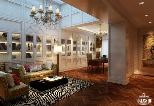 设计师依照业主的要求,将书房的书架依附于墙面,做成硕大的书架墙,同时选用英式风格的装修柜子,带来一股浓烈的英伦风。