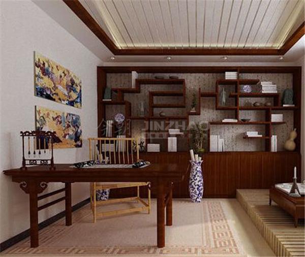 书房的家具都是深色原木以及竹子来组成,细节的处理中国风风格显著,例如瓷瓶,文房四宝等,这些都能体会主人的文化品味。