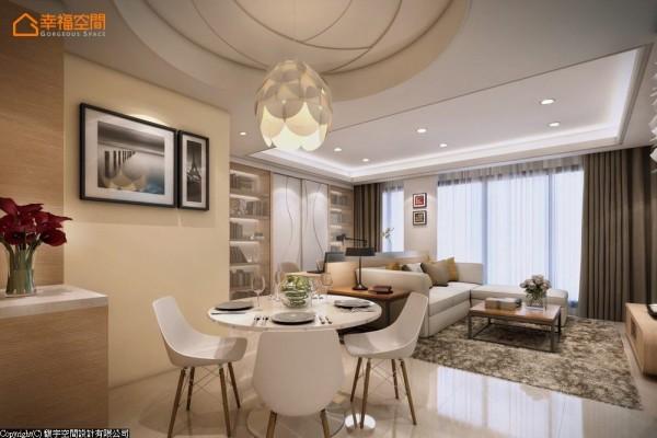 进入居宅客厅的右侧过道,玫瑰造型的圆形天花,与花形吊灯确立餐厅段落,亦预告女性柔和的空间调性。 (此为3D合成示意图)