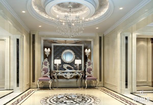设计师在设计时强调装饰的文化品位,它打破现代主义的造型形式和装饰手法,注重线型的搭配和颜色的协调,在别墅配饰设计的构图理论中汲取各种新概念,把传统构件通过重新组合出现在新的情景中。