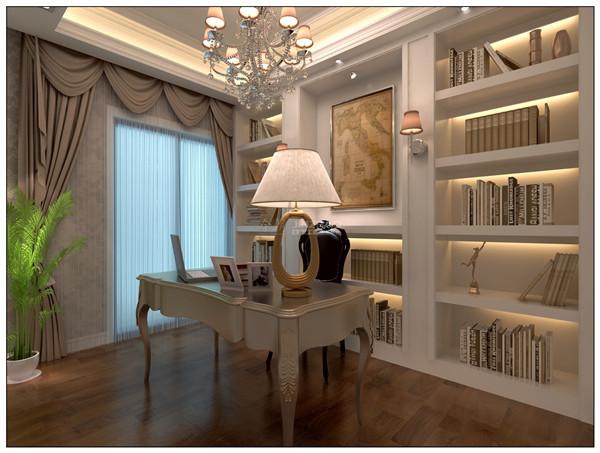 相对简单,当白色的书柜处理,以及书籍的收集摆放,凸显了主人的人文气质。