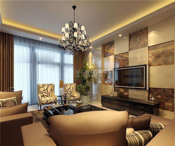 客厅用色沉稳大气,大件沙发压住整个空间,让空间十分丰富充实,电视背景墙使用大理石花纹相间分隔处理,让空间更加有丰富。