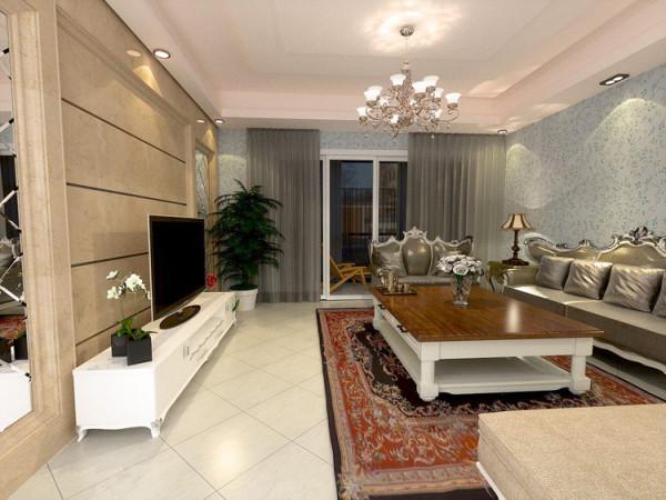 华贸城128平二居室客厅效果图展示