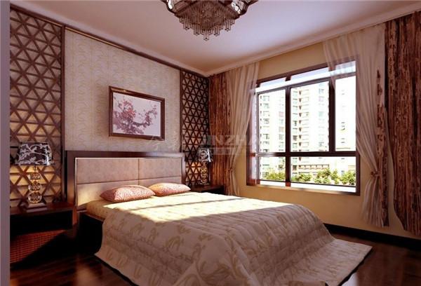 也添加了很多原木的花纹来装饰墙面,床的背景墙花纹很精美,加上一副腊梅图让整个卧室很有格调,凸显了主人深厚的文化底蕴。