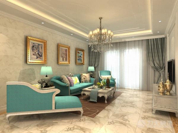 客厅沙发背景墙采用挂画,电视墙采用石膏线圈边,后面铺贴壁纸。既体现业主的品味,又不缺乏现代欧式感的风格。