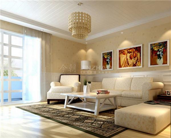 客厅用色十分轻松自在,白色的沙发处理体现了主人对美好生活向往的心情,以及沙发背景墙的一些艺术挂画十分精致,极具品味。