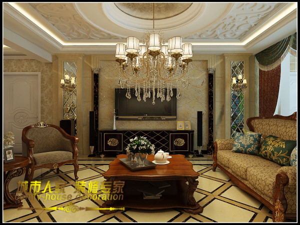 造型精美的雕花吊顶让整个客厅显得精致而唯美,华丽的水晶吊灯搭配精致的雕花吊顶让整个房子宛如童话故事里的城堡一样浪漫奢华。客厅中间的菱形拼花地砖,将沙发和茶几固定在一个区域,让整个空间更具有规律性