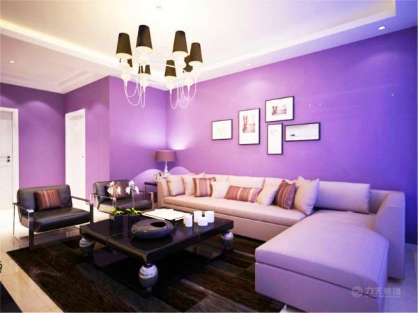 客厅以及过厅部分的墙面都选择了紫色的乳胶漆,紫色的墙面漆能营造出优雅浪漫的氛围,并且给人感觉比较舒适。