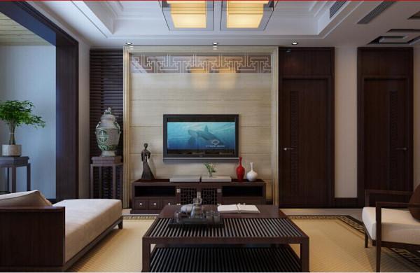 客厅的电视背景墙是以桃木、中式的镂空镜中间以带有图案的大理石搭配而形成的电视背景墙。