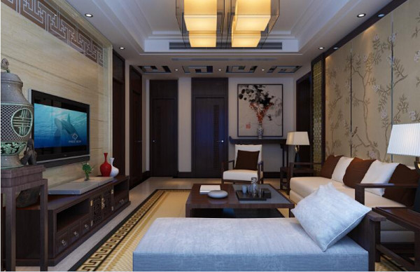 室内布置中也有既趋于现代实用,又吸取传统的特征,例如传统中式的茶几、餐桌;传统木质吸顶灯具和墙面装饰画,配以现代的元素等等。