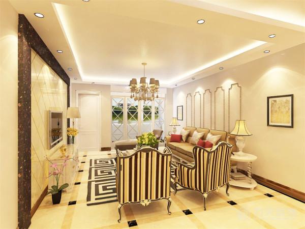 沙发背景墙用简单的线条和两幅画做装饰,简单却不乏味
