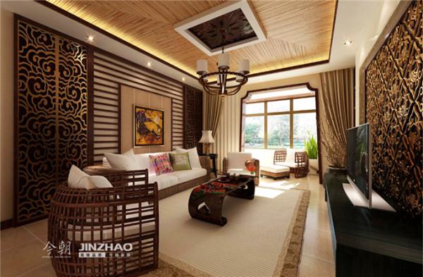 客厅得以大气优雅为主,在造型上,墙面木装饰与金属、金属结合的装饰造型,以冷静线条分割空间,代替一切繁杂与装饰。演绎原始自然的热带风情。