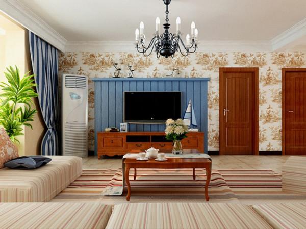 条纹状的地毯与实木家具相呼应,粗糙的电视墙显得自然纯朴。