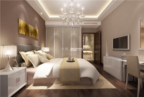 纯白的床铺搭配白色的电视柜和桌椅,墙壁的挂画生动的色彩给人清醒的感觉,美好的夜晚从这里开始。