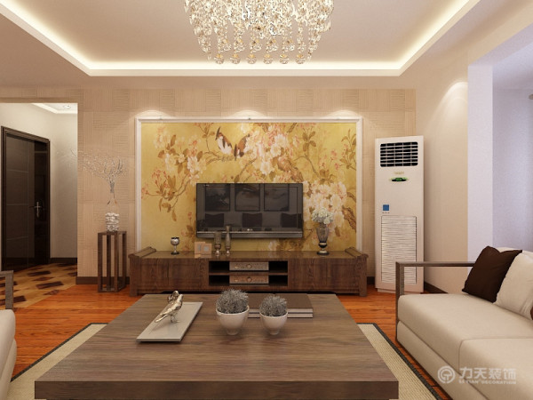 沙发则选择了简单的线条的木质家具,浅色的黑胡桃木使得整一个家不至于特别飘。沙发背景中式画的点缀,凸显风格的特点。电视背景墙则采用的是石膏线的圈边加上壁纸的设计,壁纸则选的是整面墙一幅画的形式