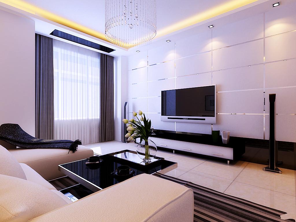 首页 装修效果图 客厅采用回字形吊顶加暗藏灯带增加客厅空间造型感
