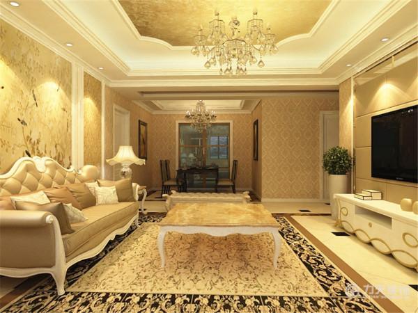 电视背景墙我采用镜面加软包装饰高贵华丽,电视柜我用了白色加金边装饰。沙发背景墙是一大幅画加以石膏线装饰,华丽的沙发,柔美的线条,很凸显高贵的气质。最后地板我用的是800×800的地砖,加一圈波打线装饰