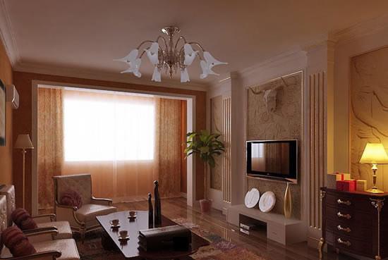 地面材质客厅和卧室为实木地板,其他空间为地砖。