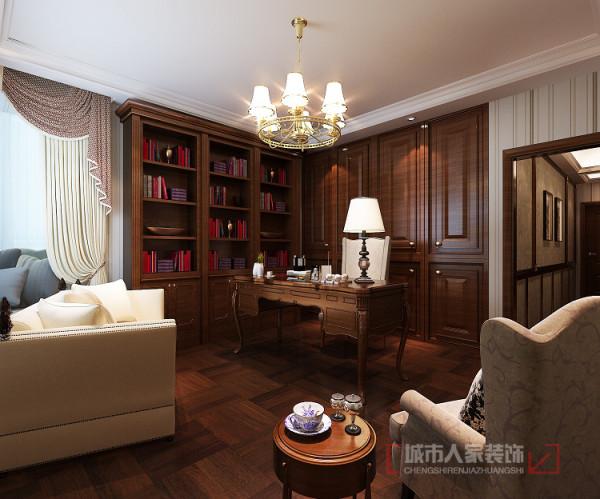 书房比较偏向中式,所表达的是文化涵养,对中式文化的热恋。