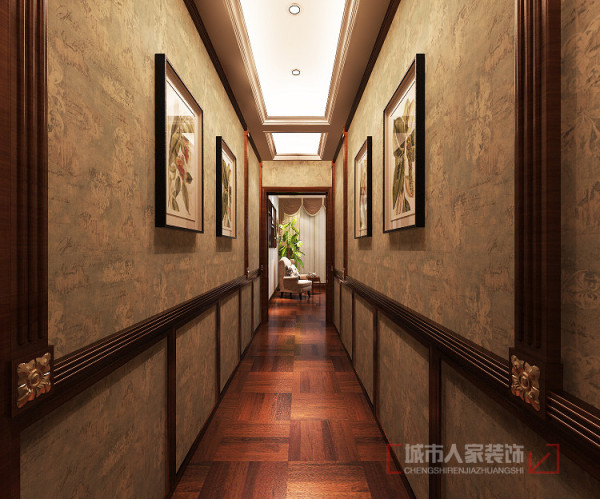 过道 墙壁用壁纸及装饰画点缀,生动灵活