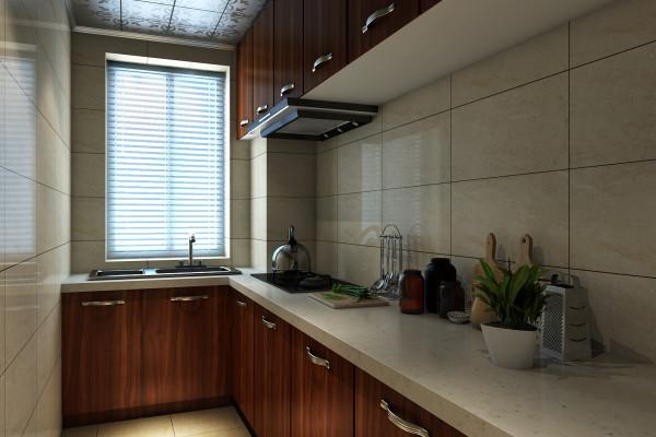 厨房的整体设计主要是考虑了储物的功能。上吊柜和下地柜完美的搭配即解决了储物的大利用又不会显得拥挤。