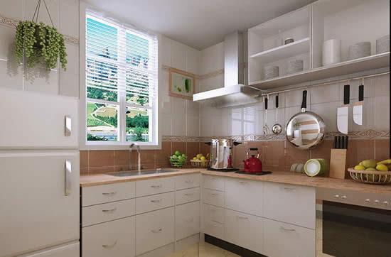 厨房为白色,厨房用易打理、便于清洁的大理石作为橱柜的台面。