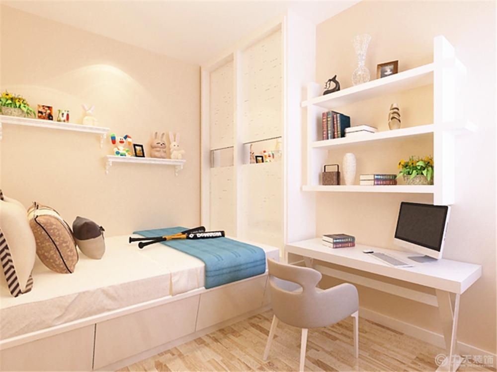 次卧室设计成榻榻米形式,上面放置推拉的衣柜.图片