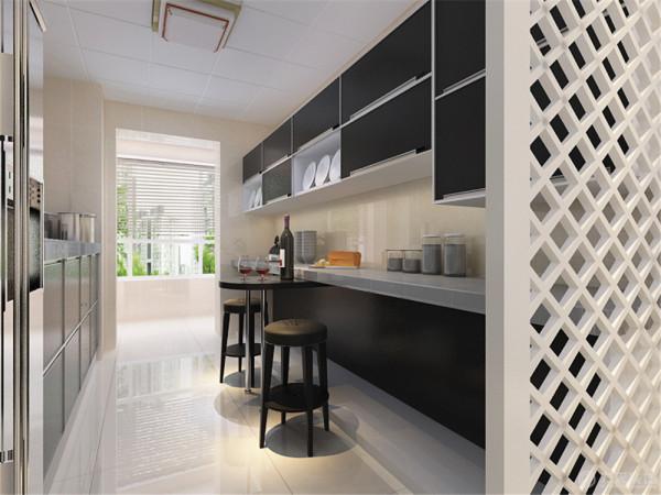 餐厅的背景通过白色的欧式酒柜的表现形式,通过窗户窗帘的搭配和厨房门的表现。增加餐厅的品味提升