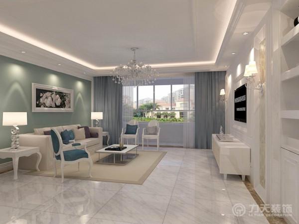 此次设计风格定位于简欧,整体颜色较为素净。客厅与餐厅通铺白色瓷砖,顶面回字形圈顶起到拉伸空间感的作用,同时辅助以灯带丰富了顶面内容。