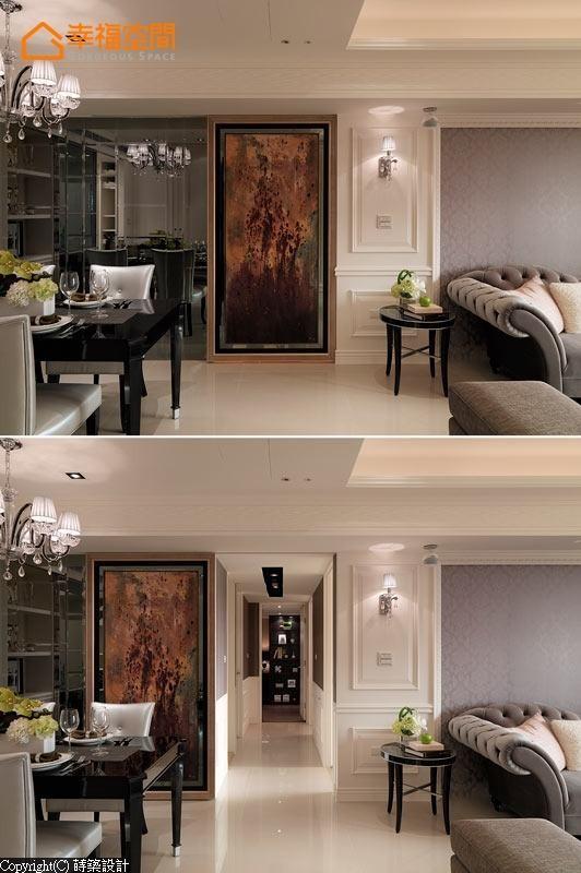 以抽象的油画作品作为迎宾的主要画面,同时更兼顾公共空间的冷房效果。