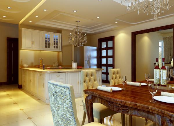 设计理念:餐厅区域不是很大,利用开放式厨房豁然开朗,开放式厨房既实用又起到一定的装饰 亮点:一进大门,华丽气派的餐桌和开放式厨房便映眼帘入,典雅大方的餐桌椅让人有一个愉快的用餐环境