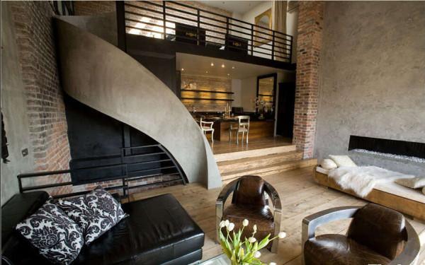 楼梯如水银泻地般的弧度,让古典与现代找到了契合点。
