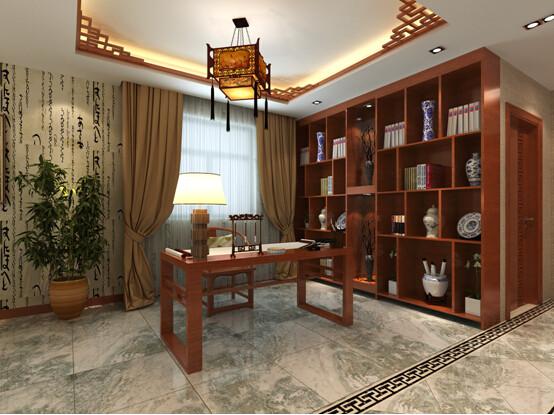 书房墙面壁纸与木格栅吊顶和深木色书柜遥相呼应,是对新中式很好的诠释。