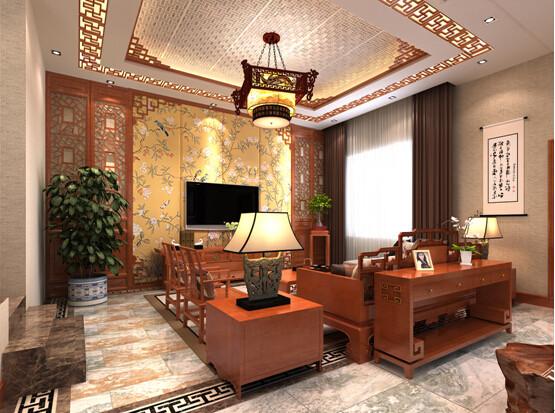 客厅吊顶不厌其烦的使用木格栅,与墙面配合颇有韵味。