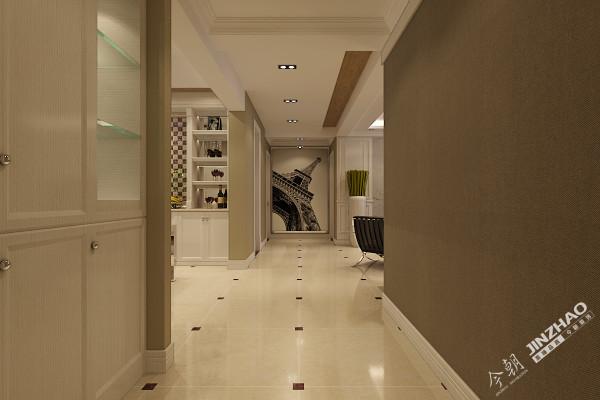 墙面大面积采用深咖浅咖壁纸,玄关尽头做了一面装饰强,形成强烈的对比。