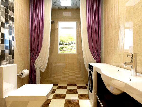 卫生间墙地砖选择米黄色系列的砖给人带来的是一种温馨,浴屏的独特设计分开了空间的干湿分离,砌筑的洗簌柜体现出了客户的高大上。