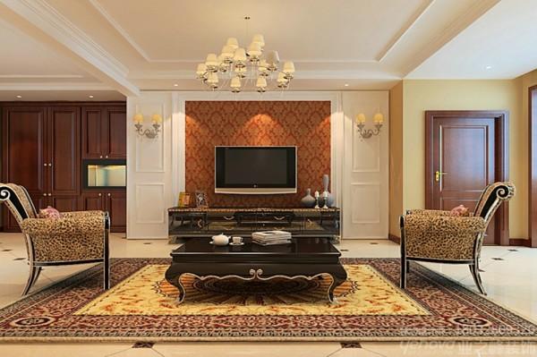 简欧风格的室内设计打破以往欧式深沉的色彩,大量使用的白色调,把欧式风格设计融入现代设计中形成浑然一体的家居风格,白色调时尚温馨不突兀,再加上暗色调的壁纸让整个空间显得高雅大气。