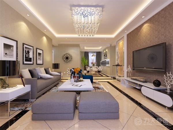 本方案以现代简约风格为设计手法,简洁、明快,客厅区域电视背景墙采用两侧石膏板与灰镜以及文化石,中间石膏板圈边搭配素色壁纸的造型为主,沙发背景墙以简单的现代挂画加以装饰,地面铺800*800的米黄色地砖