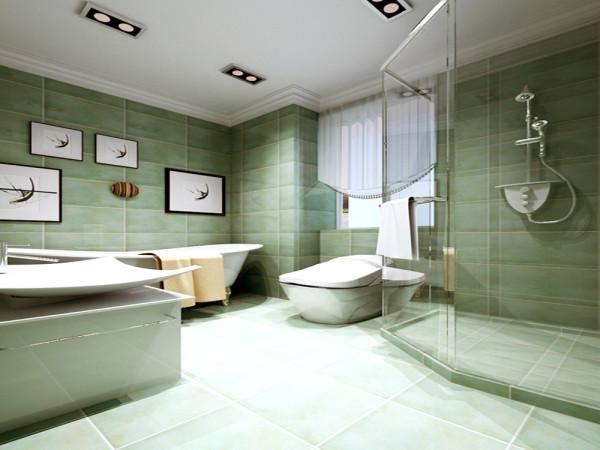 浴屏的独特设计分开了空间的干湿分离,砌筑的洗簌柜体现出了客户的高